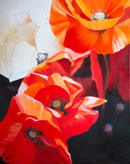 coquelicots fleurs rouge peinture doroT